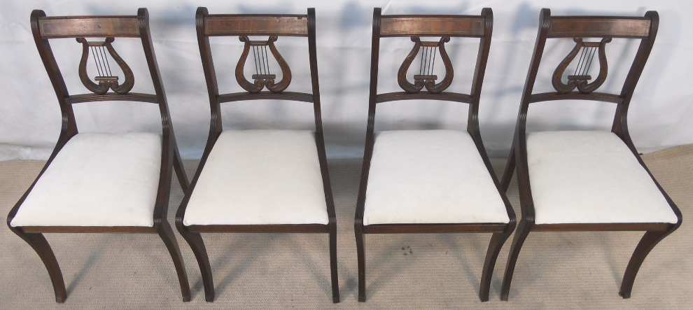 - SOLD - Set Of Six Antique Regency Style Mahogany Harp Back Dining Chairs
